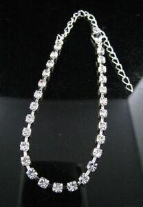Adjustable Silver Diamante Crystal Anklet Foot Chain Ankle Bracelet Simple