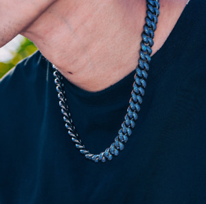 "Blue Color Unique Miami Cuban Link 925 Sterling Silver 18"" 15 mm Designer Chain"