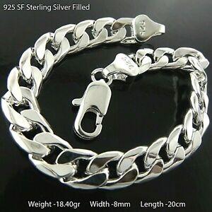 Bracelet Real 925 Sterling Silver Filled Solid Statement Curb Link Bangle 20cm