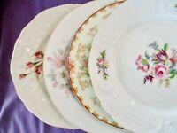 """4 Vintage Mismatched China Salad Dessert Cake Plates 7 5/8""""-8 3/8""""~Pink Flowers"""