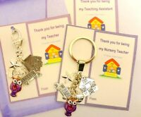 Thank you Key Ring Gift Teacher Nursery Teacher Childminder End Term Gift Card