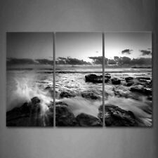 Framed Black White Seascape Wave Wall Art Painting Pictures Canvas Print Picture