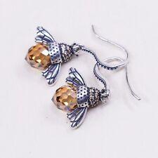 Vtg Sterling Silver Handmade Earrings, 925 Bee Dangles W/ Citrine Body