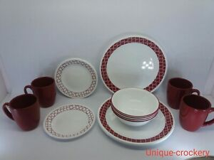 Corelle Vitrelle CRIMSON TRELLIS Chip & Break Resistant 12pc Dinner Set, NO MUGS