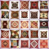Indian Killim Pillow Case Rustic Wool Jute Cushion Case Handknotted Ethnic Chair