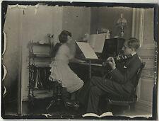 PHOTO ANCIENNE - VINTAGE SNAPSHOT - MUSIQUE PIANO VIOLON LEÇON - MUSIC LESSON