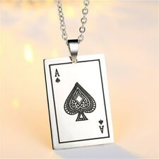 New Creative Stainless Steel Spades A Poker Pendant Necklace Chain Jewelry Gifts