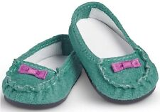 "NEW IN BOX AMERICAN GIRL TRULY ME 18"" DOLL TEAL  MOCCASINS SHOES"