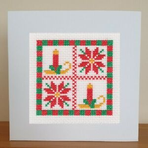 Christmas Card - Cross Stitch Kit - Candle & Poinsettia
