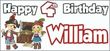 Pirate 4th Birthday Banner x 2 - Party Decorations - Personalised ANY NAME