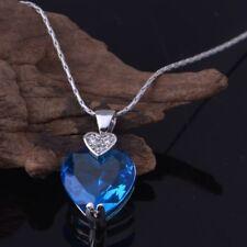 Collier femme plaqué platine & zircon cubique bleu, coeur