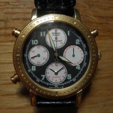 SEIKO RARE Chronograph ALARM VINTAGE 7T34 8A00 BLACK GOLD WATCHES