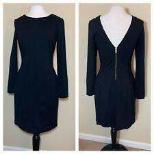 Banana Republic Size 10 Womens Dress Black Zip Stretch Long Sleeve Low Back