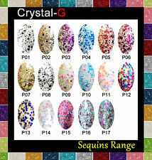 Soak off Sequined Colour Range GEL Nail Polish by Crystal-g P8 Silver Illusion
