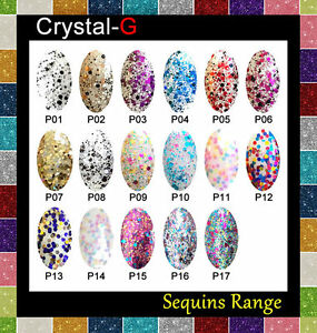 CRYSTAL-G - SEQUINS RANGE - GLITTER DIAMOND UV LED GEL NAIL POLISH VARNISH PRO