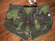 Brand New One Teaspoon Oliver Green Shorts With Floral Print Size 10 RRP $129.95