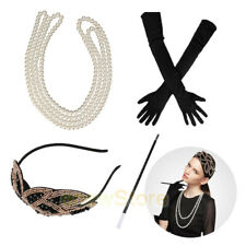 1920s Gatsby Flapper accessories Headband Necklace Gloves Cigarette Holder Lot