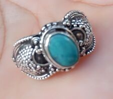 925 Solid Silver-New 2017 Balinese Carving Ring With Turquoise Size 6,75 Il-86