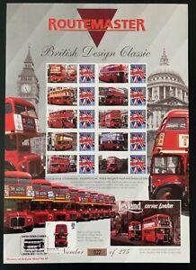 Scarce Bradbury Routemaster Buses History of Britain 49 Smilers sheet