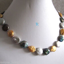 "18"" 13-15mm Gold Gray Peacock Coin Freshwater Pearl Necklace"