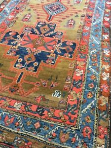 Antique Old Used  Handmade He riz Wool Rug Runner Carpet,Chic.Size:11 By3.6 Ft