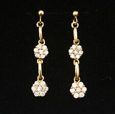 Noble Jewel 16K Gold Plated CZ Setting Dangle Flowers Earrings