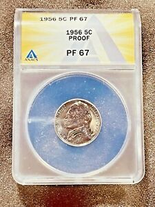 1956 Proof 5C PF67 Jefferson Nickel ANACS Graded Certified US Five Cent Coin
