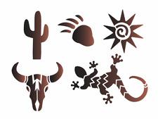 Joanie Stencil Kokopelli Sun Gecko Cactus  Buffalo Skull Bear DIY Southwest Sign