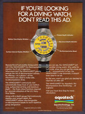 "1982 Aquatech Vanguard Diving Watch photo ""Call It Ingenious"" vintage print ad"