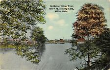 Tiffin Ohio c1910 Postcard Sandusky River from River Street Looking East