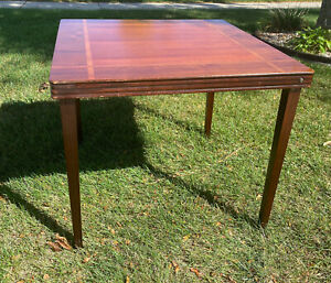 Vintage Wooden Folding Card Table, Inlaid Wood, by Castlewood with Orignal Box