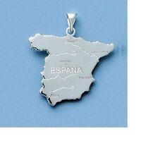 Pendentif Carte Pays Espagne 22 mm Argent Massif 925 de Dolly-Bijoux