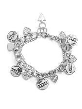 NWT GUESS BRACELET Silver & Rhinestone Fashion Chains & LOGO Charms GENUINE