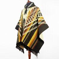Alpaca wool Hooded Poncho Unisex Aztec pattern all seasons boho hippie XXL BROWN