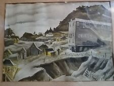 """Vintage Victor Colorado """"Ghost Town"""" 9"""" x 6.5"""" Framed Water Color/Drawing"""