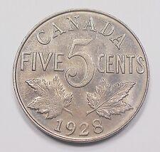 1928 Five Cents AU Beautiful RAZOR Sharp HIGH Grade King George V Canada Nickel