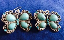 "Pretty New on Card  Silver Filigree Butterflies W/ Turquoise & Blue 1"" Hooks"
