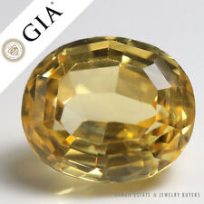 15.67CT GIA CERTIFIED UNHEATED NATURAL YELLOW SAPPHIRE OVAL STEP CUT CORUNDUM