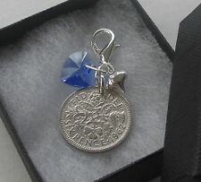 Perfect Bride Wedding Gift Something Blue Crystal Heart & Lucky Sixpence Charm