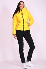 Womens Bubble Puffer Jacket Ladies Quilted Padded Coat Fur Collar Hood Thick Ma1 Mustard Yellow UK (12) Large