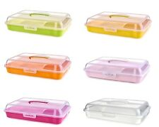 Rectangle Cake Storage Box Large Plastic Cupcake Food Caddy Carrier Container