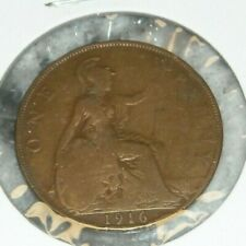 Great Britain One 1 Penny World Foreign Coin 1916