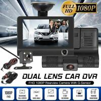 "4"" HD 1080P Dual Lens Car Dash Cam Front and Rear Camera DVR Recorder Video 170°"