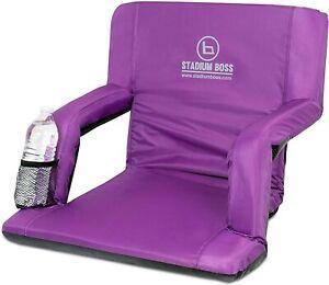 Stadium Boss Seat Reclining Bleacher Chair Folding w/ Back and Arms Purple NEW