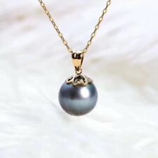 9mm REAL Natural ROUND TAHITIAN Black Pearl Necklace 18K GOLD TAHITI Pendant