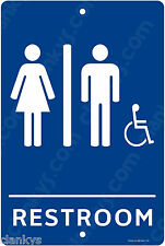 "Handicapped Equipped Restroom 8"" x 12"" Aluminum Sign Made in USA UV Protected"