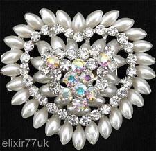 Regno Unito FAB ARGENTO CUORE SPILLA Faux Pearl Diamante Strass in Cristallo Spilla Nuziale