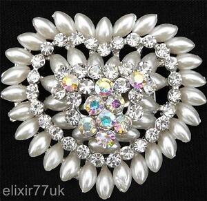 UK Fab Silber Herz Brosche Faux Pearl Diamante Strass Kristall broach wedding