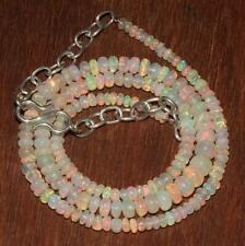 Genuine Ethiopian Fire Opal Roundel Beads Necklace With sterling silver