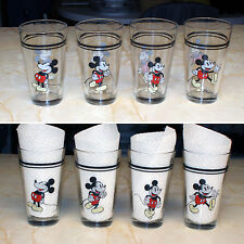 Set of Four Vintage Gibson Mickey Mouse Glass Tumblers Four Poses